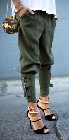 Military slouch pants.