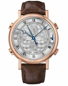 Breguet Classique 7800BR/AA/9YV02.Case in 18-carat rose gold with the caseband engraved with a musical score. Full caseback. 48mm diameter. Welded lugs with screw bars. Water resistant to 3 bar (30m). Rotating dial, platinum plated and engine-turned. Individually numbered and signed BREGUET. Hours chapter with Roman numerals on the flange. Breguet open-tipped hands in polished steel. The centre of the dial rotates completely when the music is activated. On/off indicator for the sound i