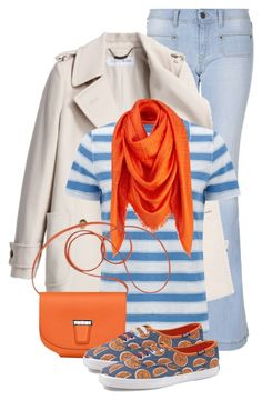 """orange & denim"" by sagramora ❤ liked on Polyvore featuring MANGO, See by Chloé, John Lewis and Keds"