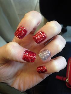 Silver and red acrylic nails for the dance!!!