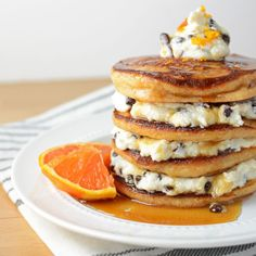 Orange Cannoli Pancakes are lightly sweetened and a little tangy, along with the flavors of chocolate and vanilla, making them Saturday morning magic!