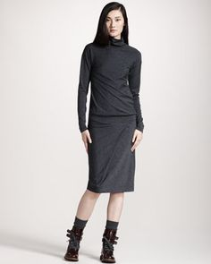 Brunello Cucinelli Drop-Waist Turtleneck Dress, Two-Tone Fringed Scarf & Shiny Leather Belt - Neiman Marcus