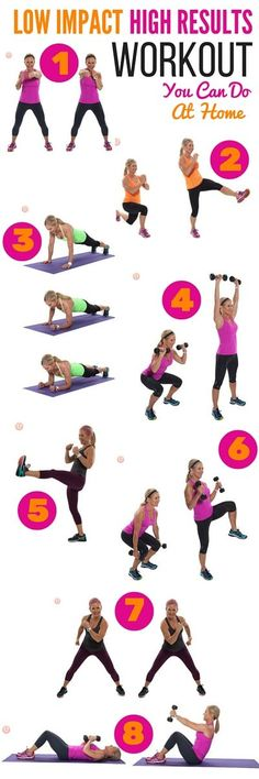 Check out these low-impact, high-results workouts that you can do at home! Whether you have sore joints, an injury, or something else, low-impact exercise does NOT need to be low intensity! You can still get your sweat on with these moves.