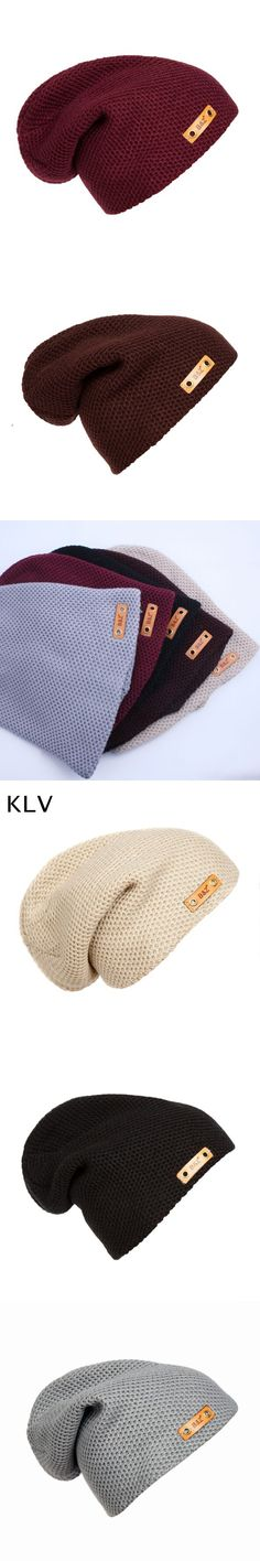 2017 New Leather Label Toucas Knitted Beanies for Men and Women Winter Hat Hip Hop Cap Warm Headwear