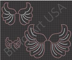 Rhinestone Smaller Wings Download File Template Pattern Art Bling SVG EPS PLT Pink Stone Stencil Sticky Fock Easy Color