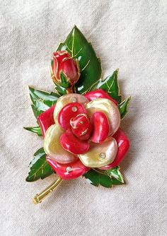 Joan Rivers American Rose Brooch  Large with by SCLadyDiJewelry