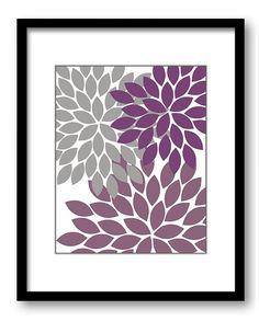 INSTANT DOWNLOAD Flower Print Purple Plum Grey by PrintsWallArt, $5.00