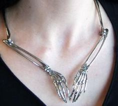 White Brass Spider Monkey Skeleton Arms Necklace - (worn by Claudia on Warehouse by Mobtown Chicago.Please allow 1 to 2 weeks for delivery, or contact us prior to ordering to inquire about the possibility of expedited processing. Jewelry Box, Jewelry Accessories, Unique Jewelry, Jewlery, Geek Jewelry, Jewelry Ideas, Vintage Jewelry, Carrie, Skeleton Arm