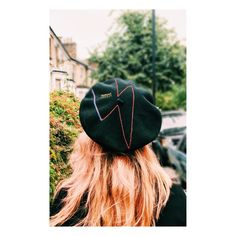 Cecile Millinery, hand embroidered beret hommage to David Bowie . Handmade in London