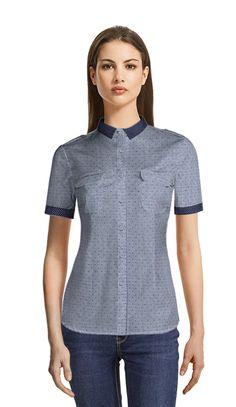 Rochel Pin-Dot Short Sleeve Shirt in Dusty Blue