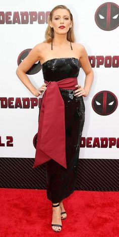 Blake Lively wearing Strapless Sequin Dress by Brandon Maxwell Resort 2019 at the Deadpool premiere