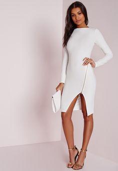 Missguided - Long Sleeve Zip Detail Midi Dress White