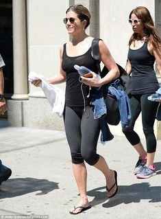 Dedicated! Jennifer Aniston showed off her trim figure as she was spotted leaving the gym on Friday in New York City after a morning workout