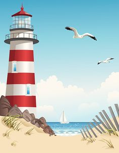 Lighthouse and sailboat in summer - My CMS Seaside Art, Beach Art, Lighthouse Painting, Lighthouse Pictures, Rock Painting Designs, Beach Themes, Sailboat, Landscape Art, Watercolor Paintings