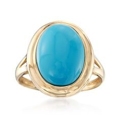 Ross-Simons - Oval Turquoise Ring in 14kt Yellow Gold - #795488
