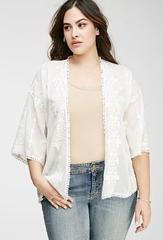 Plus Size Embroidered Open-Front Cardigan   Forever 21 PLUS - 2049257922
