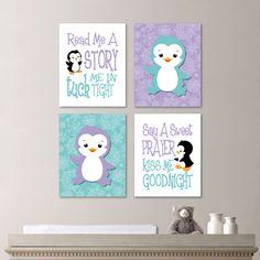 Baby Girl Nursery Art - Penguin Nursery Art - Penguin Nursery Decor - Penguin bedroom Art - Read Me a Story - Teal Lavender  (NS-616) by RhondavousDesigns2 on Etsy https://www.etsy.com/listing/200598773/baby-girl-nursery-art-penguin-nursery