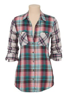 Mixed Plaid print Button Down shirt (original price, $29) available at #Maurices