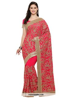 An outstanding #rosepink #georgette #contemporary #style #saree will make you look very #stylish and #graceful