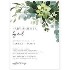 Greenery Shower by Mail Invitation | Forever Your Prints