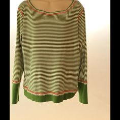 Super cute* Long sleeve distressed style scoopneck Olive stripe and orange accent long sleeve distressed scoopneck tee. So comfortable and casual with timeless style and class. Jones New York Tops Tees - Long Sleeve