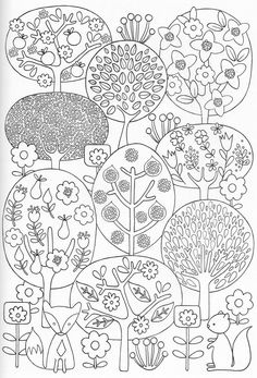 Scandinavian Coloring Book Pg 28 - features fox, squirrel, fruit and flowering trees