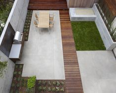 Modern backyard with zen garden, easy to manage lawn, planters, grill.