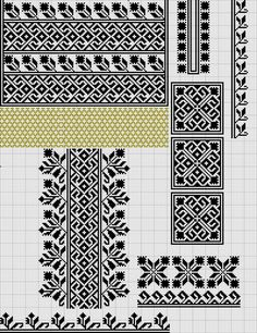 Beading _ Pattern - Motif / Earrings / Band ___ Square Sttich or Bead Loomwork ___ Cross Stitch Borders, Cross Stitch Designs, Cross Stitching, Cross Stitch Patterns, Folk Embroidery, Cross Stitch Embroidery, Embroidery Patterns, Crochet Patterns, Craft Patterns
