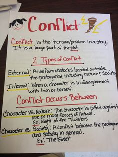 I would have the students do their own examples of conflict in their stories by making this chart themselves.