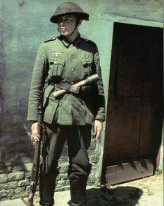 German soldier with british helmet