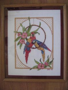 """Completed Needlepoint Petit Point Parrots Wood Profess Framed Picture 15"""" x 18"""" #jimmybuffett  margaritaville style"""