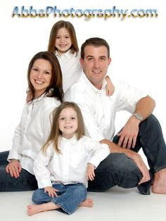 Indoor Orlando, Florida studio portrait taken in jeans and white shirts. www.abbaphotography.com