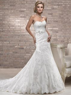 Lace Fit And Flare Wedding Dress With Sweetheart Neckline