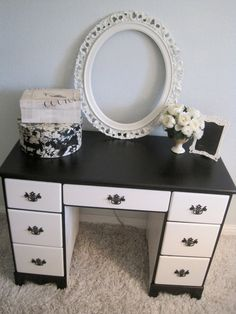 Black and White French Glamour Desk by OohLaLaBoudoirChic on Etsy, $295.00