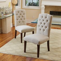 SET OF 6 Elegant Linen Upholstered Parsons Dining Chairs With Tufted Backrest | eBay