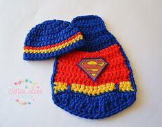 Superman Crochet Set, Newborn Photo Prop