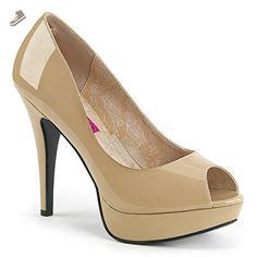 Pleaser Pink Label Women's Chloe01/Cr Platform Pump, Cream Patent, 14 M US - Pleaser pumps for women (*Amazon Partner-Link)