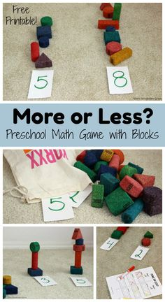Simple Preschool Math Game with Blocks More or less? A simple preschool math game with blocks! Hands-on learning that helps toddlers and preschoolers learn early math skills! Kindergarten Math Games, Math Activities For Kids, Preschool Learning, Fun Math, Toddler Preschool, Preschool Activities, Math Activities For Preschoolers, Learning Numbers Preschool, Easy Games For Kids