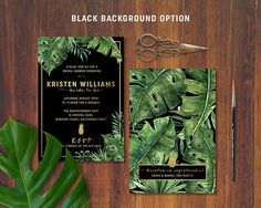 Golden Pineapple Palm and Banana Leaves Invitation