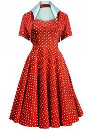 50s Dotty Swing Dress Ensemble - Red