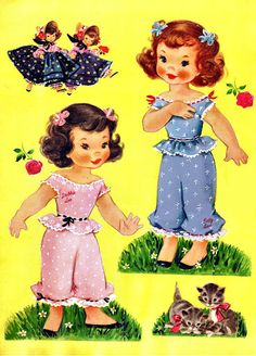 60s Paper Dolls Cindy Sue and Lindly Lou which they later reprinted as Candy and her Cousins Paper Dolls