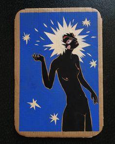 """The Star"" tarot gouache sur carton, x cm. Star Tarot, Gouache, Goddesses, Greek, Challenges, Batman, Superhero, Stars, Fictional Characters"
