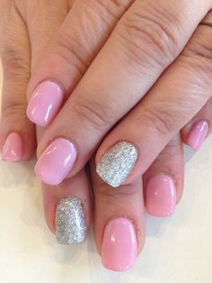 Bio Sculpture Gel: - Pink Iceberg with silver glitter La Nails, Pink Nails, Bio Sculpture Gel Nails, Nail Gel, Gel Color, Silver Glitter, Nail Ideas, Nail Designs, Colours