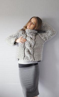 Pull. Punto de Piccolo. Laine de mérinos Chunky sweater.19 microns. Confortable…