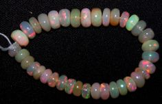23 Ct Super Flashy Multi Color Ethiopian Welo Opal 5-7 MM Beads String (36) NR