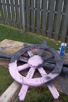 pirate ships wheel before paint styrofoam Halloween prop