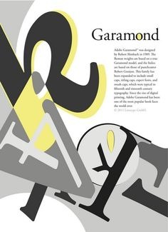 Type specimen for Garamond. Typographic Poster, Typographic Design, Graphic Design Typography, Graphic Design Art, Type Posters, Creative Typography, Graphic Design Inspiration, Cover Design, Garamond Font