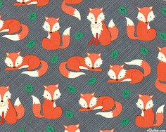 "The Fox and His Tail from the ""Let's Get Nutty"" collection by Timeless Treasures"