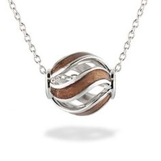 Sterling Silver Swirl Pendant with Koa Wood Inlay* (Chain Included) - Koa Inlay Jewelry - Collections