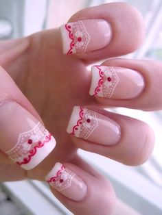 White french manicure with red & white floral nail art and red rhinestones ♡